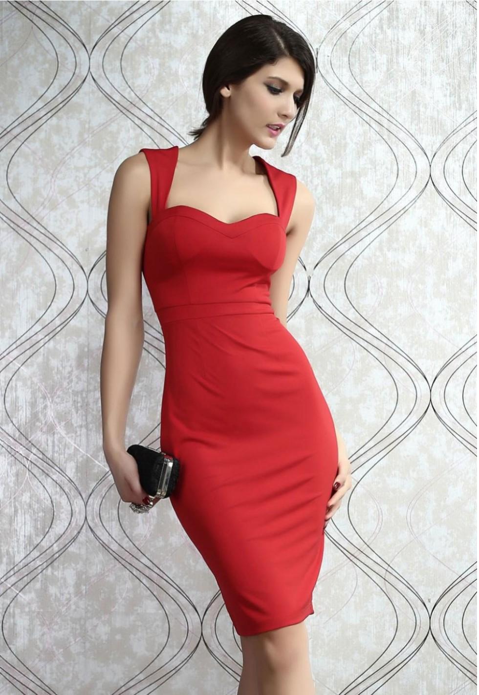 Robe-estampado-rouge-rembourré-découpez-retour-Midi-robe-élégante-robe-cher-amant-mode-vêtements-pour-femmes